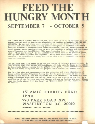 """Feed the Hungry Month"" Islamic Party of North America"